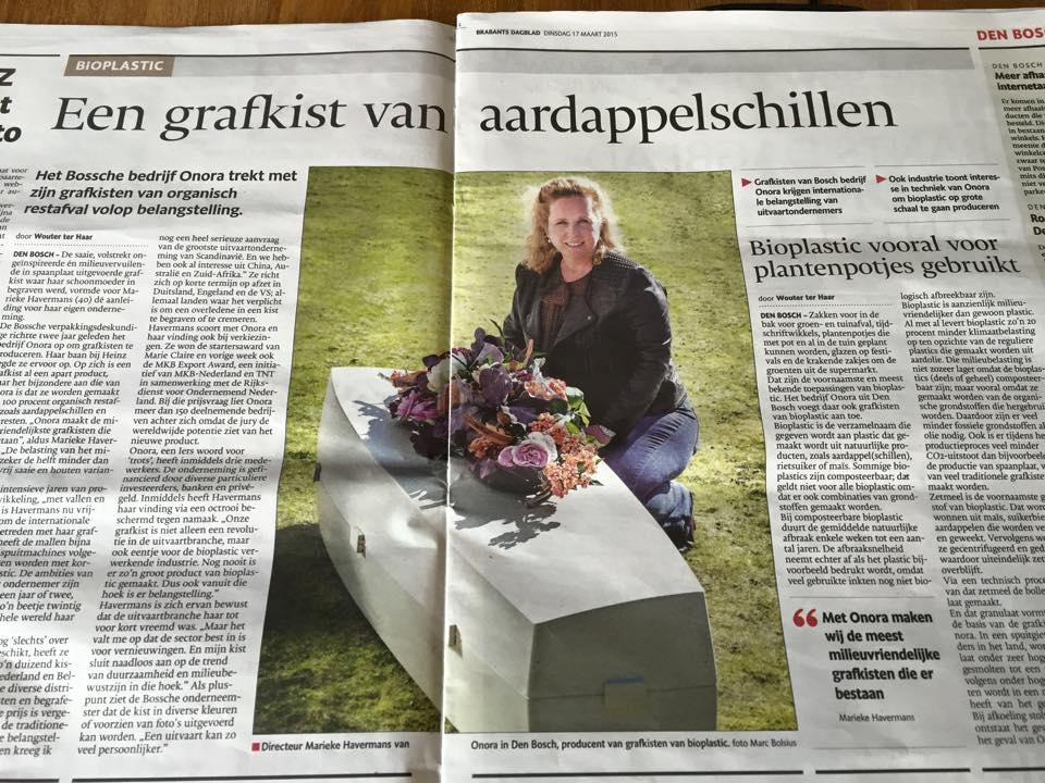 BD artikel Onora ecologische lijkkist