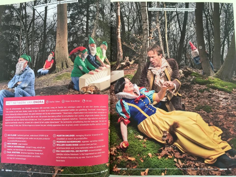 Onora lijkkist in Sprout magazine