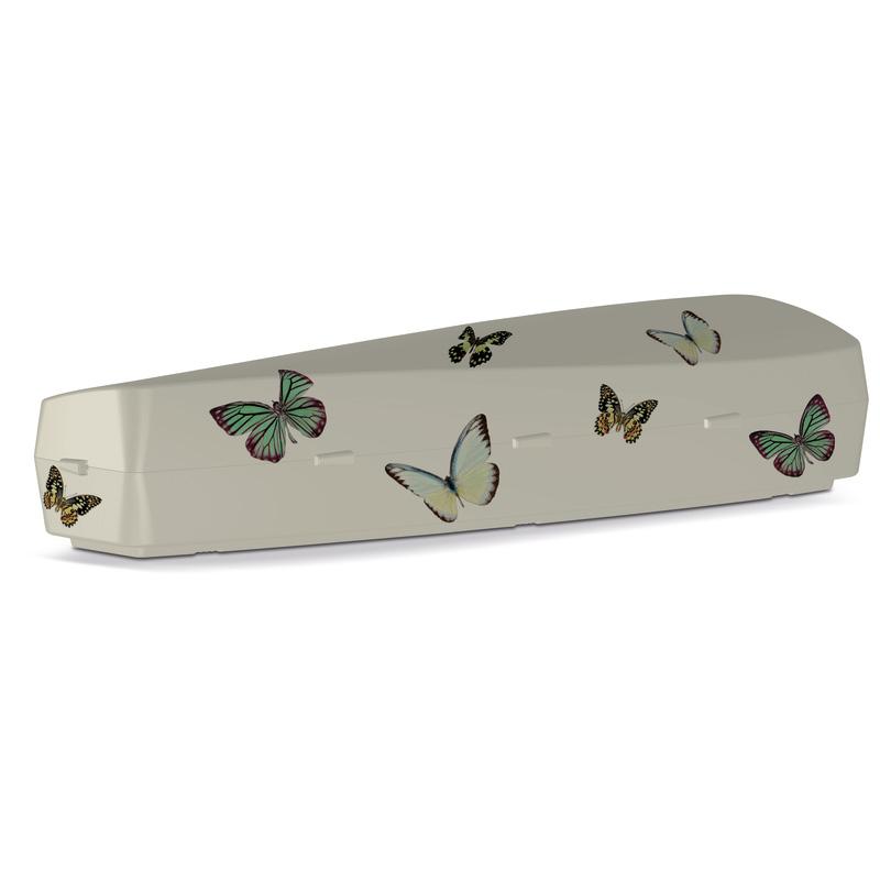 Onora duurzame vlinderstickers uitvaartkist
