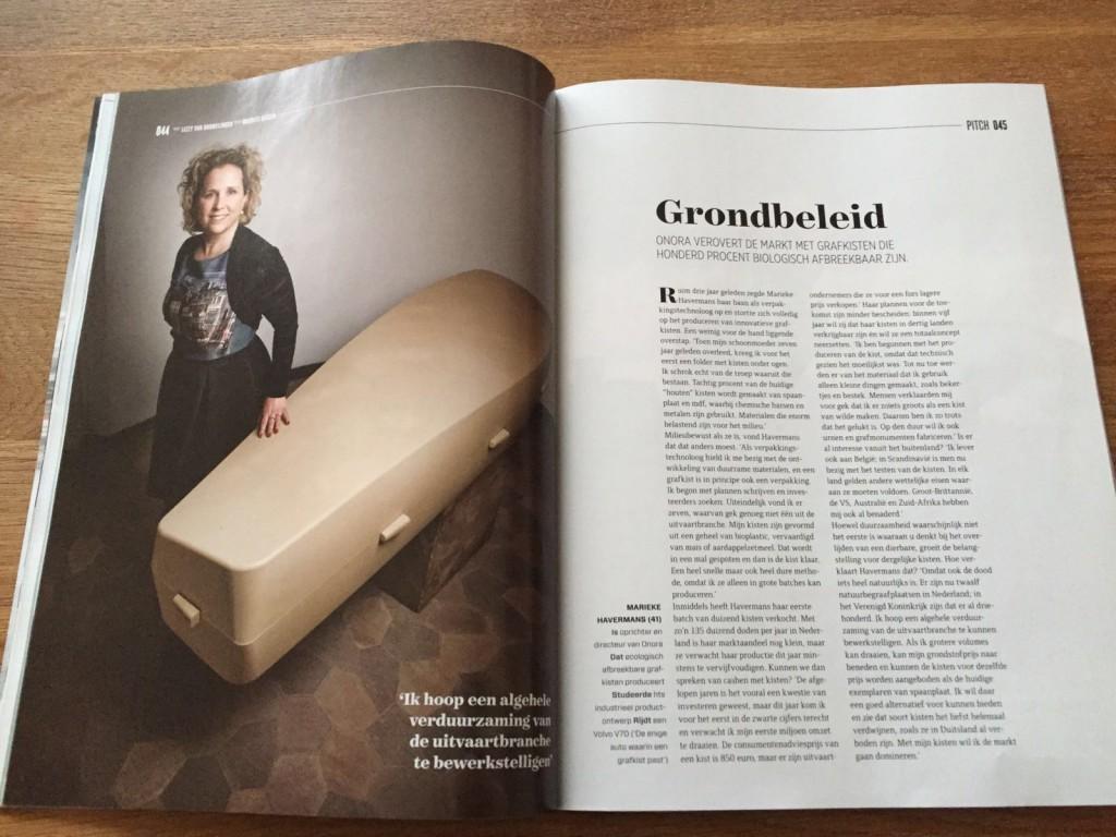 Mooi artikel Onora uitvaartkist in Quote magazine